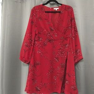 Madewell Long Sleeve Red Silk Dress